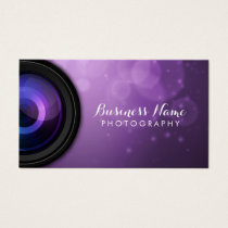 Elegant Purple Background Modern Photography Business Card