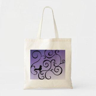 Elegant Purple Bird Silhouette on Branch Swirls Tote Bag