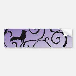 Elegant Purple Bird Silhouette on Branch Swirls Car Bumper Sticker