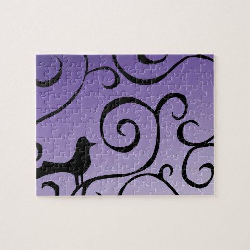 Elegant purple bird silhouette on branch swirls jigsaw