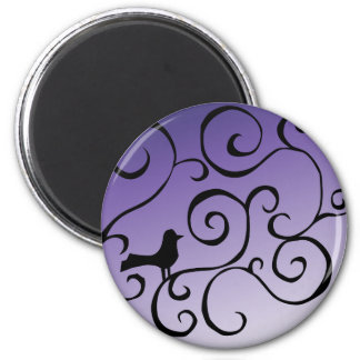 Elegant Purple Bird Silhouette on Branch Swirls Magnet