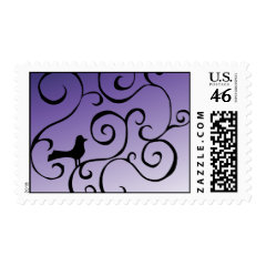 Elegant Purple Bird Silhouette on Branch Swirls Postage Stamps