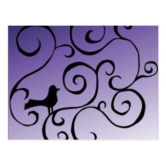 Elegant Purple Bird Silhouette on Branch Swirls Postcard