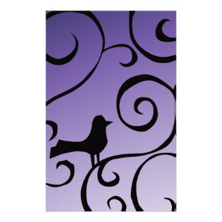 Elegant Purple Bird Silhouette on Branch Swirls Stationery Design