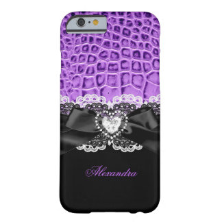 Elegant Purple Black Animal Bow Heart Lace 2 Barely There iPhone 6 Case