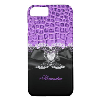Elegant Purple Black Animal Bow Heart Lace 2 iPhone 7 Case