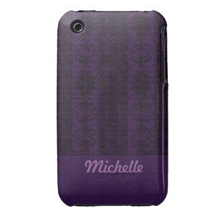 Elegant purple black Damask iPhone 3 Cover