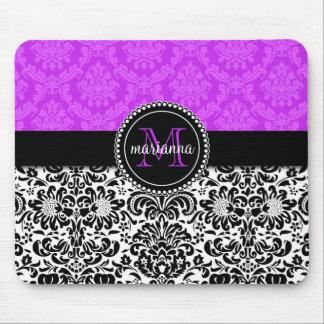 Elegant Purple Black Damask Personalized Mousepads