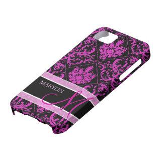Elegant Purple & Black Damask with monogram iPhone 5 Cases
