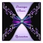 Elegant Purple Black Diamond Bow Quinceanera Card