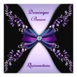 Elegant Purple Black Diamond Bow Quinceanera Card