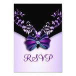 Elegant Purple Black Diamond Bow RSVP Personalized Invitation