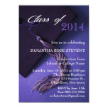 Elegant Purple Black Grad Cap Graduation Party Personalized Invitation