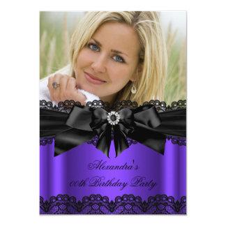 Elegant Purple Black Lace Diamond Bow Birthday Card