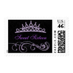 Elegant Purple/Black Swirl & Tiara Stamp