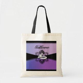 Elegant Purple Black Wedding Cards &Favor Budget Tote Bag