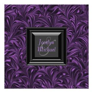 Elegant Purple Black Wedding Invitations