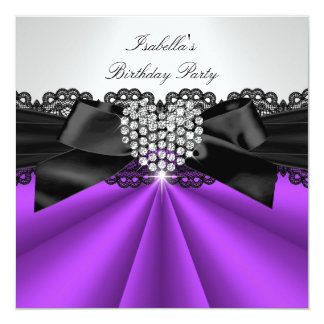 Elegant Purple Black White Diamond Birthday Party Card