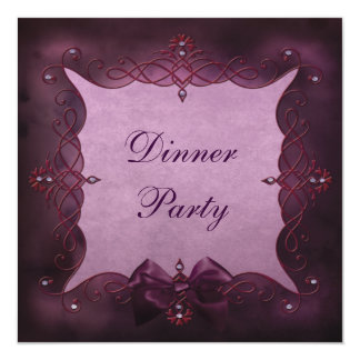Elegant Purple Bling & Bow DinnerParty Card