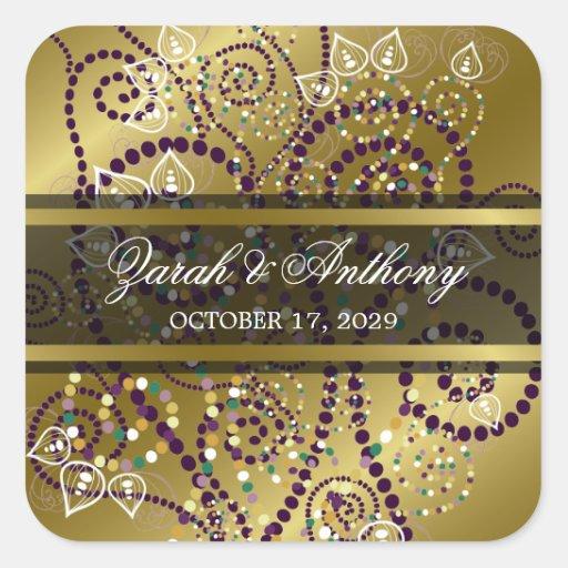 elegant purple boho spirals gold wedding stickers zazzle