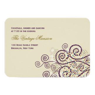 Elegant Purple Boho Spirals Wedding Reception Card