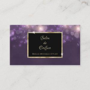 Elegant Purple Bokeh Salon Black and Gold Frame Business Card