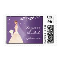 Elegant Purple Bride Bridal Shower Postage Stamps