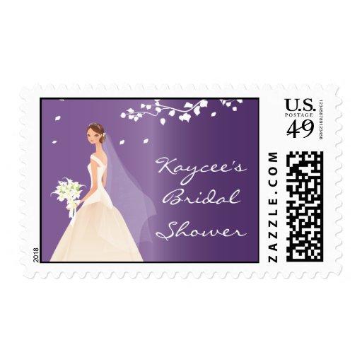 Elegant Purple Bride Bridal Shower Stamps