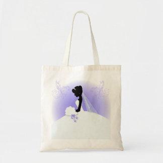 Elegant Purple  bride silhouette Bridal Shower Tote Bag