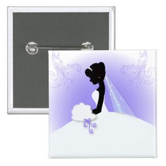 Elegant Purple  bride silhouette Bridal Shower Button