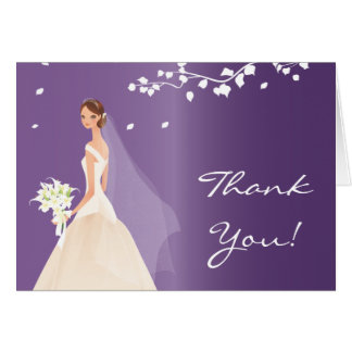 Elegant Purple Bride Thank You Note Card