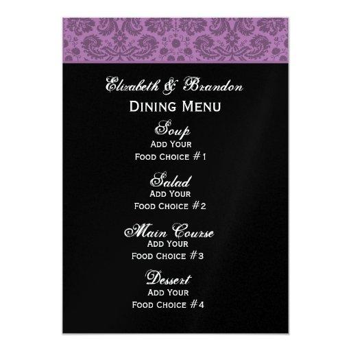 Elegant Purple Brocade Damask Wedding Collection Card