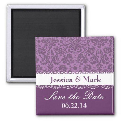 Elegant Purple Brocade Damask Wedding Collection 2 Inch Square Magnet