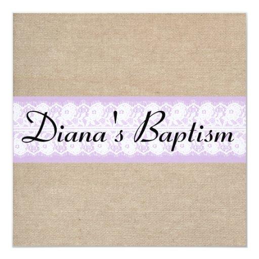 Elegant Purple Burlap Lace Baptism Invitation