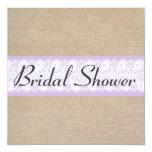 Elegant Purple Burlap Lace Bridal Shower Invite