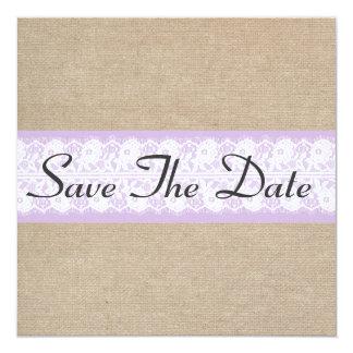 Elegant Purple Burlap Lace Save The Date Notice Card