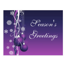 elegant purple business holiday Greeting PostCards