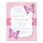 Elegant Purple butterfly baby shower 4.25x5.5 Paper Invitation Card