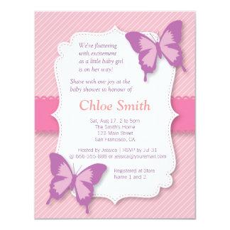 Elegant Purple butterfly baby shower 4.25x5.5 Paper Invitation Card