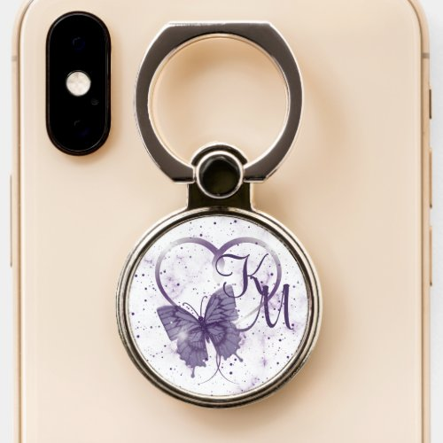 Elegant Purple Butterfly, Heart & Marble Monogram Phone Case