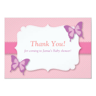Elegant Purple butterfly thank you baby shower Card