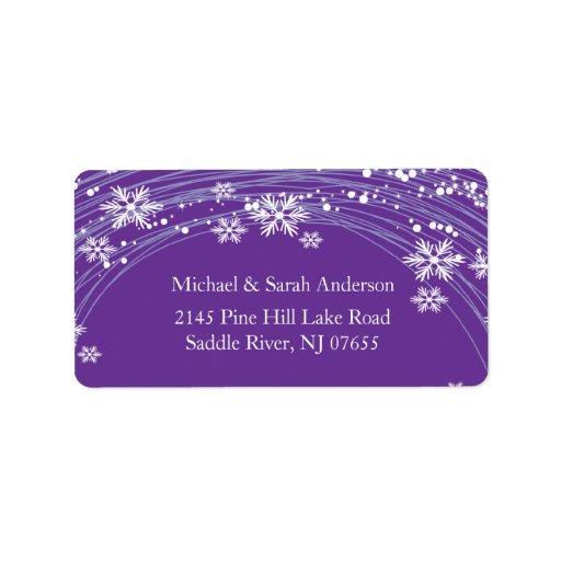 Elegant Purple Christmas Snowflakes Address Label