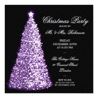 Elegant Purple Christmas Tree Holiday Party Card