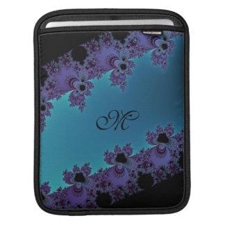 Elegant Purple Cyan Monogram Fractal Sleeve For iPads
