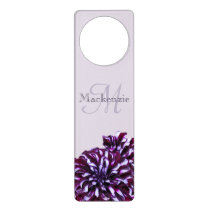 Elegant purple dahlia flowers monogram custom name door hanger