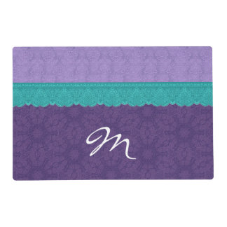 Elegant Purple Damask and Teal Lace Wedding A06 Placemat