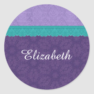 Elegant Purple Damask and Teal Lace Wedding A12 Classic Round Sticker