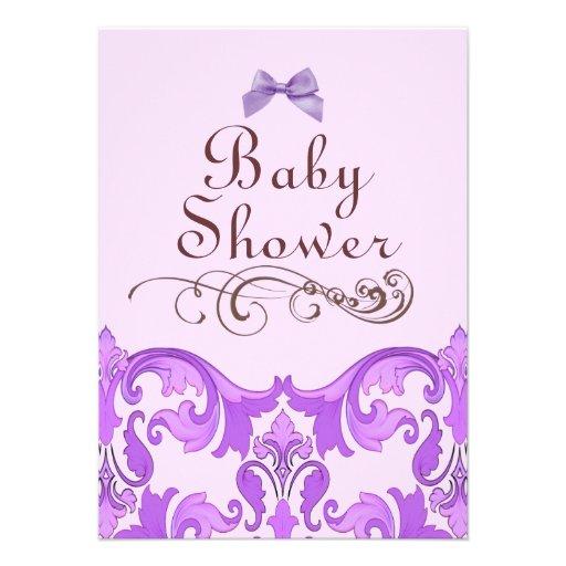 elegant purple damask baby shower invitation zazzle