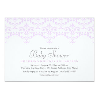 Elegant Purple Damask Baby Shower Invitation