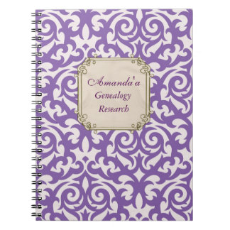 Elegant Purple Damask Genealogy Spiral Notebook